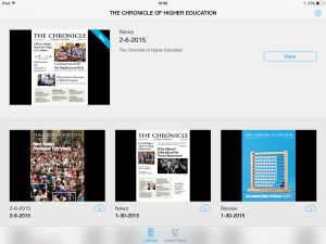 The landing page of The Chronicle iPad app in landscape orientation.