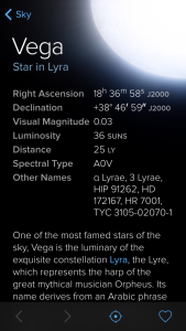 Screen shot of Sky Guide after selecting Vega. Note the links back to the sky as well as to the page on Lyra both in blue.