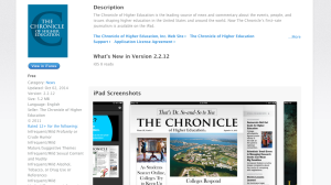 Screen Shot of the Chronicle app page in the iTunes store incorrectly showing The Chronicle being displayed in landscape orientation.