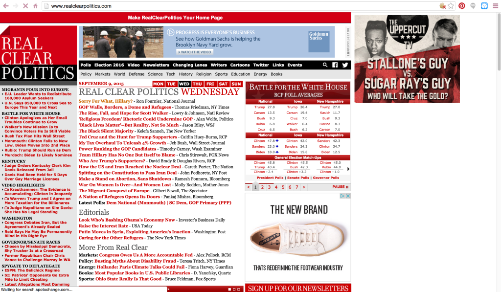 Design Critique: RealClearPolitics.com (Accessed by Google Chrome)