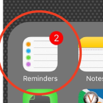 photo of reminders app in folder