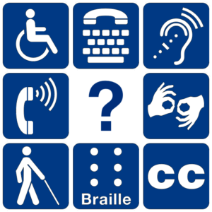 Disability symbols with a question mark in the center