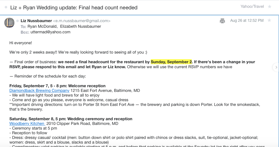 Figure 4. Email from the bride and groom with a reminder along with information also available on the website.