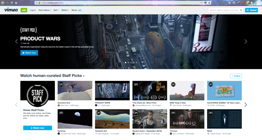 A screenshot of Vimeo's Staff Picks Watch page.