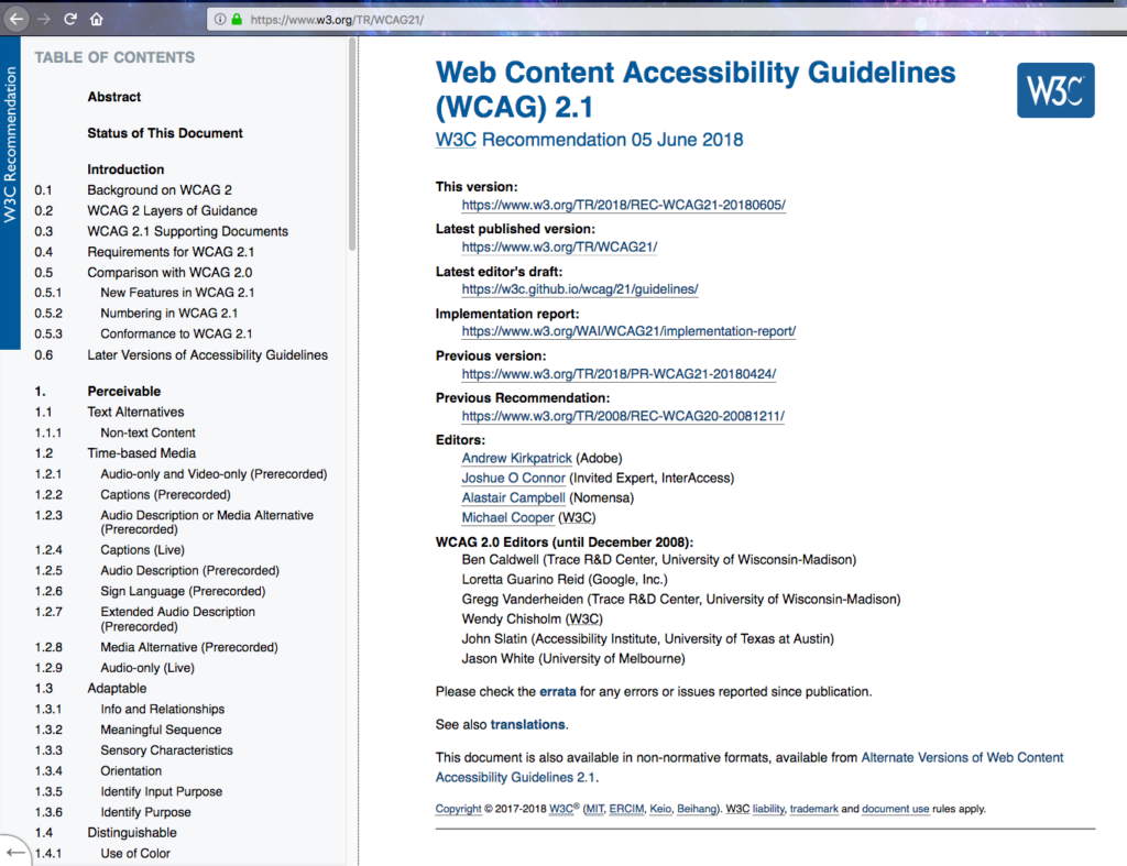 A screenshot of the WCAG 2.1 webpage.