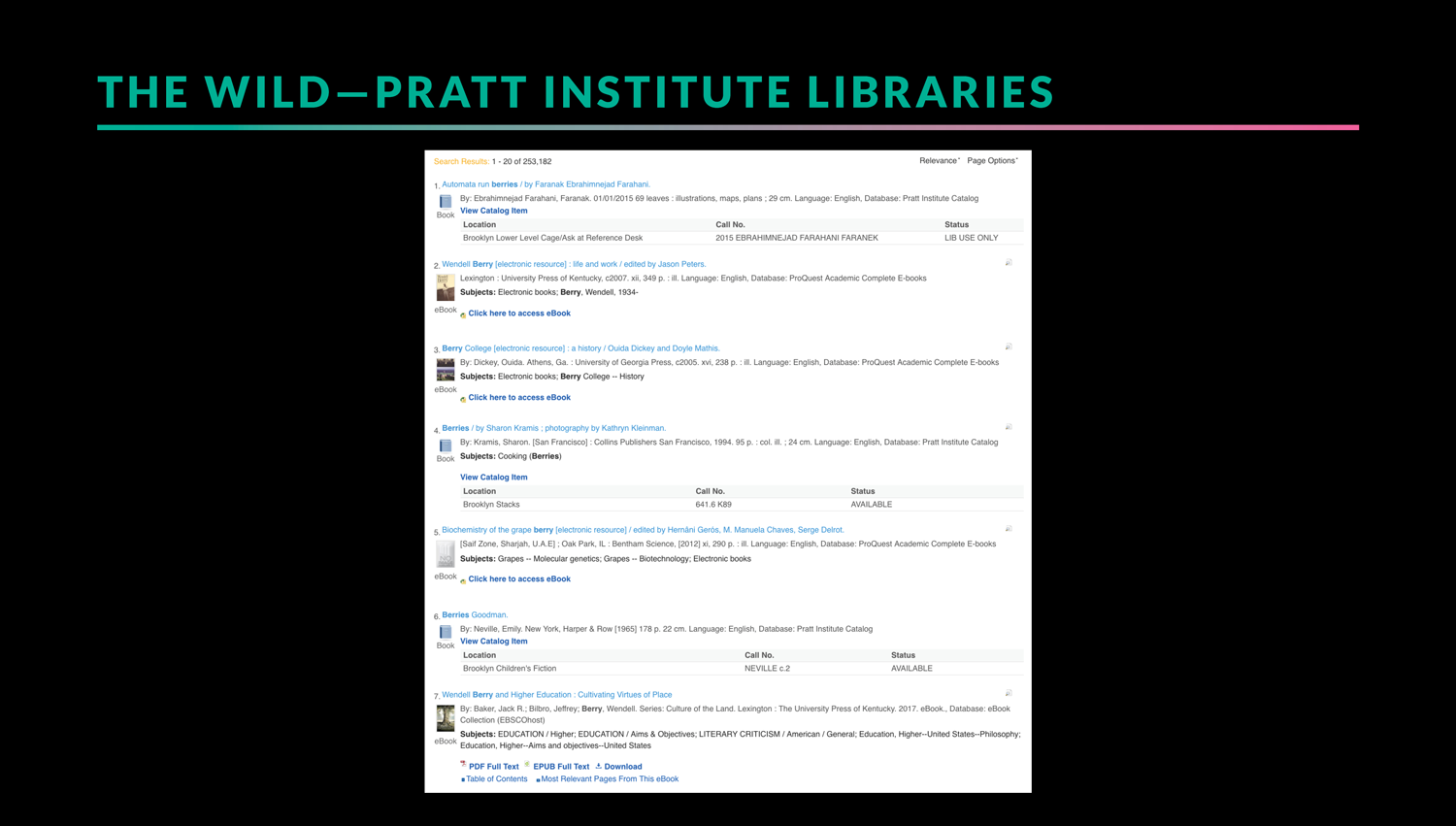 example of search results from a Pratt Institute Libraries quick search