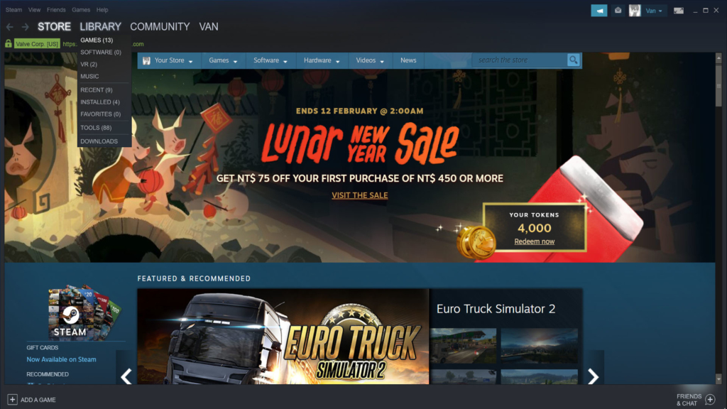The greeting page, also the store page, of steam