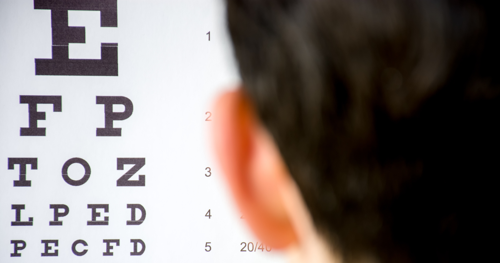 Image of an eye chart used to test vision.