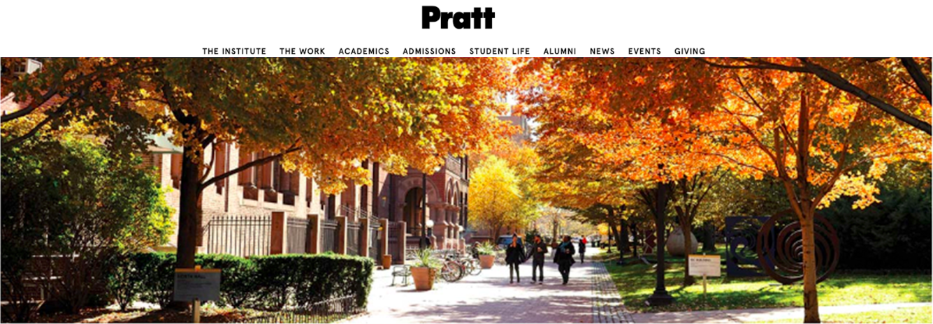 A mockup generated during the user testing study of Pratt Institute's website.