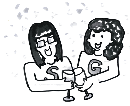 cartoon image of two designers labeled G and S