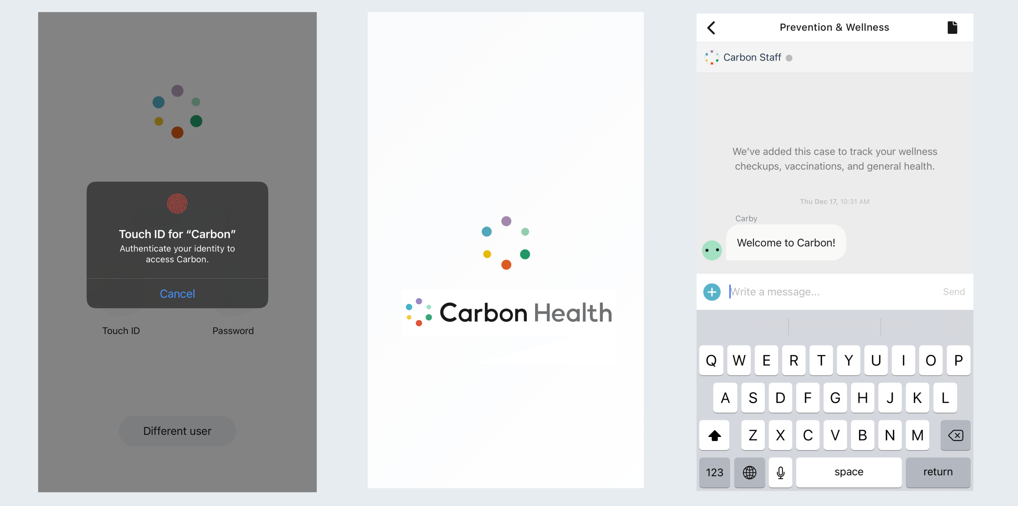 Screenshots compiled to one image to showcase Carbon Health app on ios three images side by side