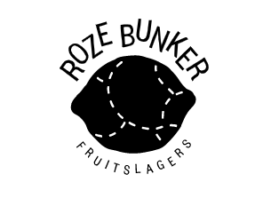 """Roze Bunker logo. A black lemon, divided with dotted lines, with the words """"Roze Bunker"""" written over it and """"Fruitslagers"""" underneath."""